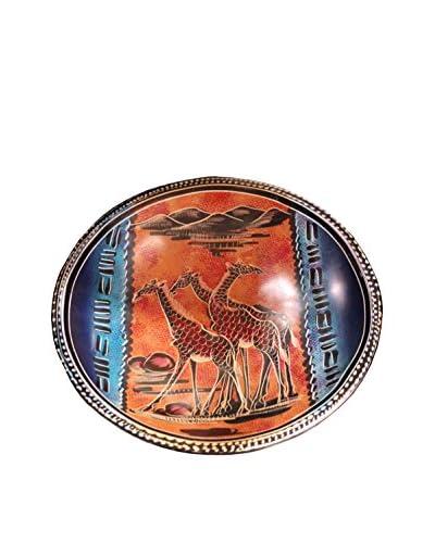 Asian Loft Handcrafted Giraffe Design Swaziland Stone Plate, Multi