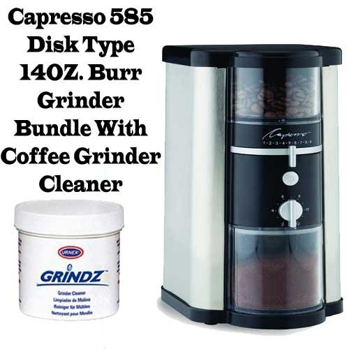 Capresso 585 Disk Type 14OZ. Burr Grinder Outfit With Coffee Grinder Cleaner