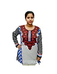 Odishabazaar Women's American Crepe Kurti Short Kurta Blouse Floral Print In White XL
