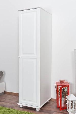 1 Door Tallboy Wardrobe 003, solid pine wood, white - H190 x W47 x D60 cm