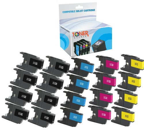 Toner Clinic TC-LC75 20PK 8 Black 4 Cyan 4 Magenta 4 Yellow Compatible Inkjet Cartridge for Brother LC-75BK LC-75C LC-75M LC-75Y LC-71 LC-75 For use in Brother MFC-J280W MFC-J425W MFC-J430W MFC-J435W