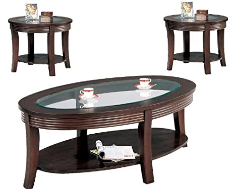 ELEGANT 3 PC COFFEE TABLE SET IN CAPPUCINO FINISH