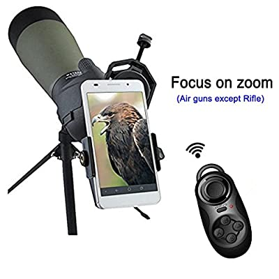 Scope Phone Adapter Mount + Bluetooth Remote Controller, Connect with Cellphone be a Wireless Camera, for Digiscoping Binocular, Telescope, Microscope, Monocular etc by Lanboo