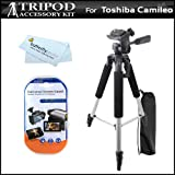57 Camera/ Camcorder Tripod w/ Carrying Case For Toshiba Camileo X100 Camileo H30 Full HD Camcorder + LCD Screen Protectors + MicroFiber Cleaning Cloth
