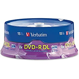 VER95484 - Verbatim DVD+R DL 8.5GB 8X with Branded Surface - 15pk Spindle