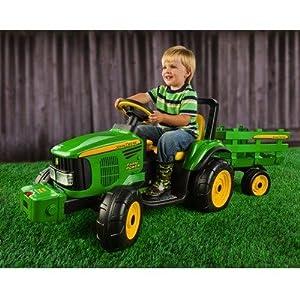 John Deere Battery-Powered 12 Volt Farm Tractor/Trailer
