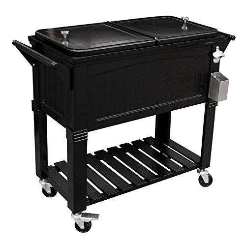 Permasteel PS-203F1-BLK Patio Cooler with Antique Finish, 80-Quart (Wooden Rolling Cooler compare prices)