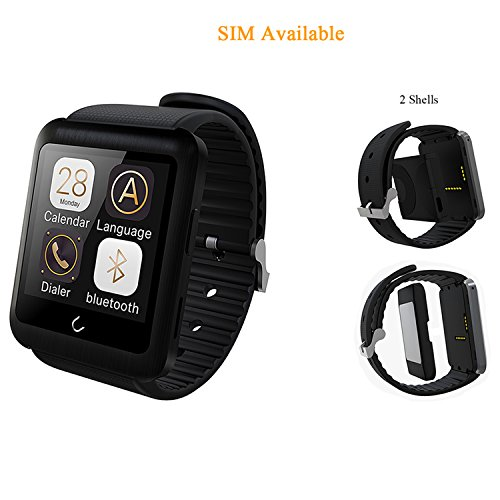 stardrift Newest Touch Screen Bluetooth Smart Watch Independent Wristwatch Phone with Separated SIM Card Slot Shell+Charging Shell Sweatproof Anti-lost for iPhone 6s 6 6 Plus IOS and Android (black)