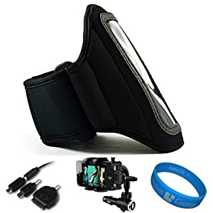 Black SumacLife Moisture Resistant Neoprene Hardcore Workout Armband for Apple iPhone 5 Latest Generation / iPhone 4S / iPhone 4 / iPhone 3G / iPhone 2G / iPhone (16GB, 32GB, 64GB) + Universal Windshield Phone Mount + SumacLife TM Wisdom Courage Wristband