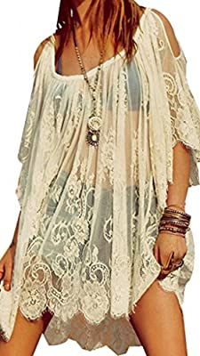 Amoin Hippie Boho People Embroidery Floral Lace Crochet Mini Party DressTops