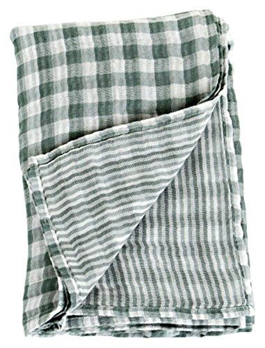 """Lulujo Baby Reversible Muslin Cotton Swaddles Blanket, Warm Grey, 47"""" x 47"""""""