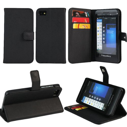 Jkase Executive Series Wallet Cover Case With Credit / Business Card Holder For Blackberry Z10 (Black)