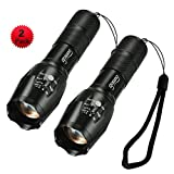 Gosund XML-T6 Ultra Bright LED Water Resistant Flashlight of 5 Modes Tactical Torches for Outdoor Bottom Click (2pcs)