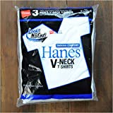 Hanes ヘインズ VネックTシャツ ブルーパック 白無地 3枚組 Mサイズ