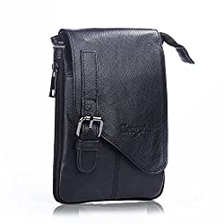 Mens Genuine Soft Leather Cross body iPhone Bag Mini Messenger Fanny Pack Holster Belt Waist Pouch Travel Shoulder Satchel with Detachable Long Strap for 6S Plus Galaxy S6 S7 Edge+Free Keychain-Black