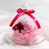TEATSIGHT(ティートサイト) プリザーブドフラワー ギフト 枯れないお花 「ガラスポット入り バラ 2輪」ピンク