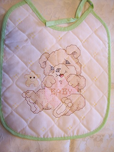 Teddy Bear with Green Trim Stamped Cross Stitch Baby Bib