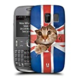 Head Case Designs Union Jack Peeping Cat Funny Animals Protective Snap-on Hard Back Case Cover for Nokia Asha 302