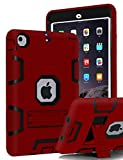 iPad Mini 3 Case,iPad Mini 2 Case,iPad Mini Case,TIANLI(TM) ArmorBox [Three Layer] Convertible [Heavy Duty] Rugged Hybrid Protective With KickStand Case For iPad Mini 3/2 With Stylus,Red/Black