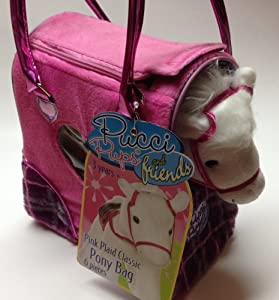 Pucci Pups & Friends Pink Plaid Classic PONY/Horse 6 Piece Set w/accessories