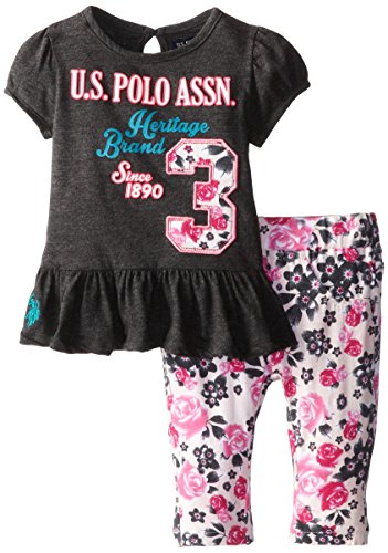 U.S. Polo Assn. Baby-Girls Infant Bubble Sleeve Peplum Top And Print Capri Leggings, Heather Charcoal, 12 Months