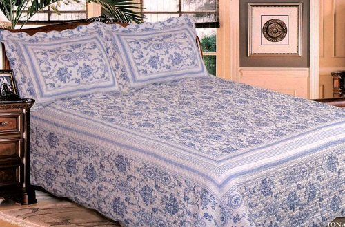Luxurious Hand Crafted Quilted Bedspread, Iona Blue, Double Bed