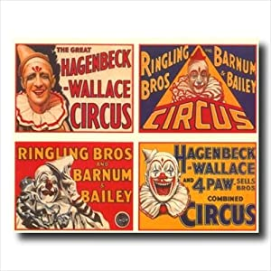 Vintage Circus Poster Ad Clown Wall Picture Art Print