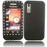 Diamante Silicone Skin Cover Case And LCD Screen Guard For Samsung Tocco Lite S5230 / Black