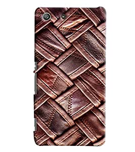 Blue Throat Leather Quilting Effect Printed Designer Back Cover/ Case For Sony Xperia M5