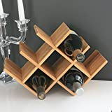 Venezia W Shape 8 Bottle Wooden Countertop Wine Rack Made From 100% Natural Bamboo, Modern Design for Easy Free Standing Table Top Storage, in Natural Bamboo Color