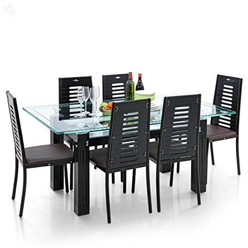 Royal Oak Milan Dining Set with Six Chairs (Brown/Black)