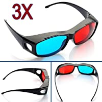 Red-blue / Cyan Anaglyph Simple Style 3d Glasses 3d Movie Game-extra Upgrade Style (3Pcs With Different Style) by MECO Co,.LTD
