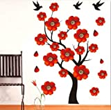 Instylewall Home Decorative Mural Decal Art Vinyl Wall Sticker Red Flowers Tree Singing Black Birds Wallpaper