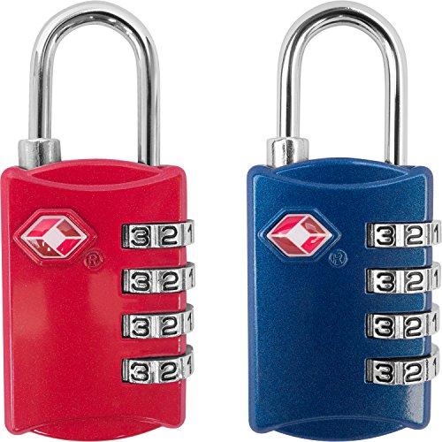 TSA Luggage Locks (2 Pack) – 4 Digit Combination Steel Padlocks – Approved Travel Lock for Suitcases & Baggage