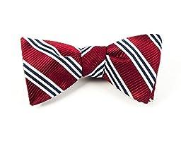 100% Woven Silk Burgundy Stripe Self-Tie Bow Tie