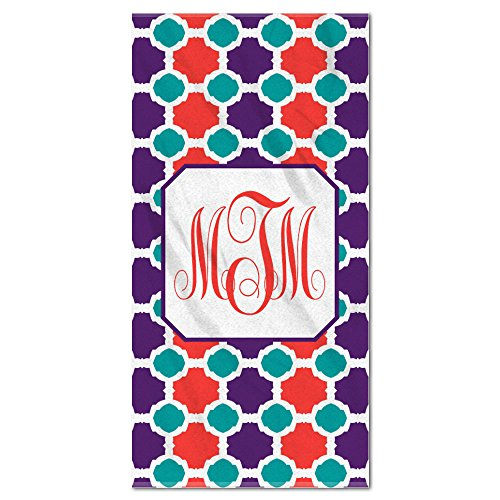 Monogram Tile Pattern Tea Red And Purple Beach Towel