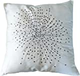 "Decorative Designer's Floral Throw Pillow COVER 18"" Black/white"