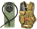 Ultimate Arms Gear Dark Earth Tan Tactical Scenario Military-Hunting Assault Vest w/ Right Handed Quick Draw Pistol Holster and Heavy Duty Mag Pouch Belt + OD Olive Drab Green 2.5 Liter / 84 oz. Replacement Hydration Backpack Water Bladder Reservoir - Includes Hosing And Hands Free Bite Valve
