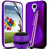 ONX3 4-IN-1 BUMPER GIFT SET - Samsung Galaxy S4 I9500 Purple S line Wave Gel Case Skin Cover + Purple 3.5MM Portable Mini Capsule Speaker + Purple Touchscreen Stylus Pen + LCD Screen Protector Guard