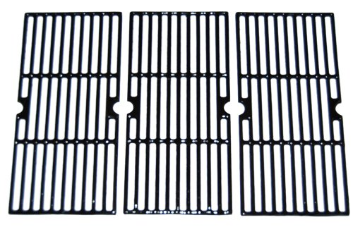 Music City Metals 66123 Gloss Cast Iron Cooking Grid Replacement for Select Gas Grill Models by Centro, Charbroil and Others, Set of 3
