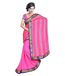 My online Shoppy Chiffon Saree (My online Shoppy_5_Pink)
