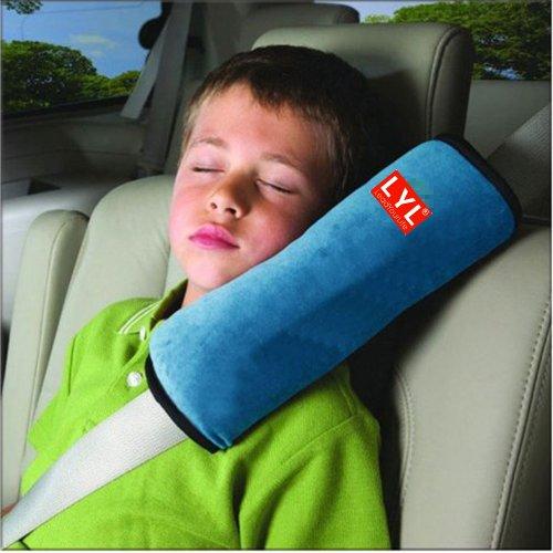LeadYourLife Comfortable Duplex suede nap children/kids traveling pillow Seat belt pillow shoulder pad Booster car seat pillow Blue