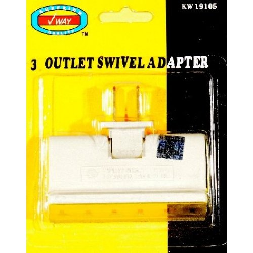 3 Outlet Swivel Wall Tap Adapter Triple Way 2 Prong