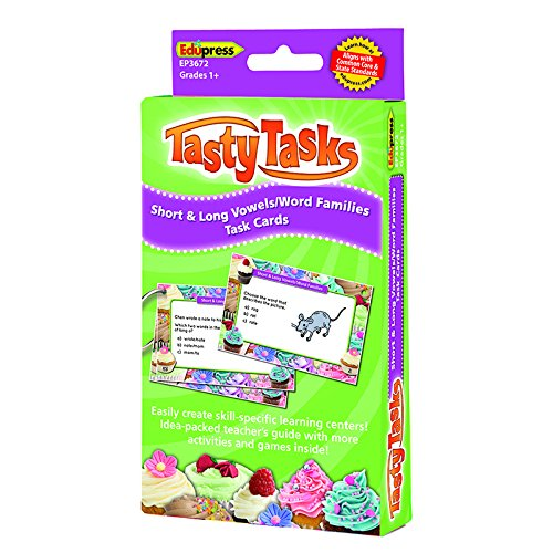 Edupress Short and Long Vowels/Word Families Tasty Task Cards, Grades 1+ (EP3672)
