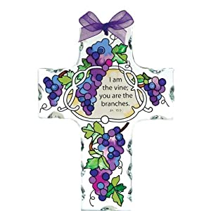 "4"" x 5.5"" Beveled Glass Hand Painted Cross Suncatcher by Joan Baker Grape Arbor/I am the vine..."