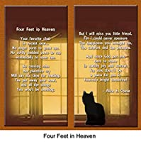 Cat Lover Remembrance Gift, Four Feet in Heaven Poem, Memorial Pet Loss Picture Frame Keepsake and Sympathy Gift Package