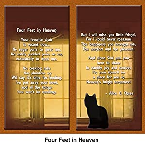 "Cat Lover Remembrance Gift, ""Four Feet in Heaven"", Memorial Pet Loss Picture Frame and Sympathy Gift Package, with optional custom photo editing"