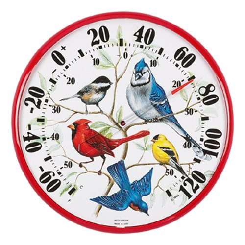 Chaney Instruments Acu-Rite 01581 12-1/2-Inch Dial Face Wall Thermometer, Songbirds