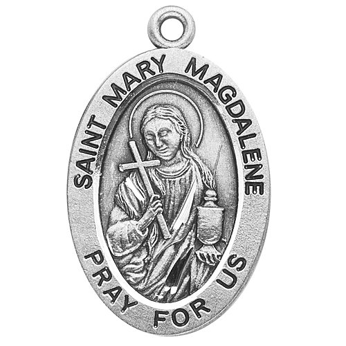Sterling Silver Oval Medal Necklace Patron Saint St. Mary Magdalene with 18