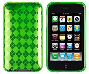 Abz Cases Neon Argyle Pattern Flexible TPU Case for Apple iPod Touch 2G/3G/2/3-Green